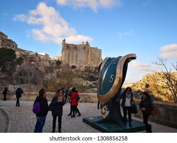MATERA, BASILICATA, ITALY - DECEMBER 29 - Dalì sculpture inside the ancient town of Matera (Sassi di Matera), European Capital of Culture 2019 on december 29, 2018