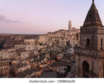 MATERA, BASILICATA, ITALY - DECEMBER 29 - View of the ancient town of Matera (Sassi di Matera), European Capital of Culture 2019 on december 29, 2018