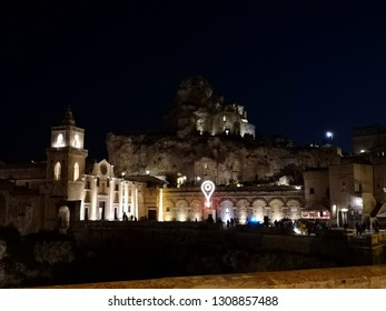 MATERA, BASILICATA, ITALY - DECEMBER 29 - Night view of the ancient town of Matera (Sassi di Matera), European Capital of Culture 2019 on december 29, 2018