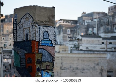 MATERA, BASILICATA, ITALY - DECEMBER 29 - Ceramic artwork inside the ancient town of Matera (Sassi di Matera), European Capital of Culture 2019 on december 29, 2018