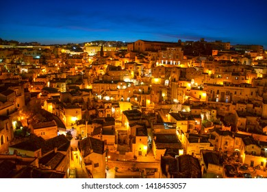 Matera, Basilicata, Italy: dusk landscape of the old town (sassi barisano di Matera), European Capital of Culture 2019