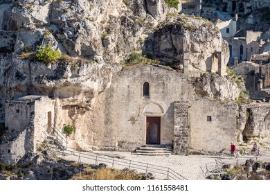 Matera, Basilicata, Italy - July 2018 - Church of Madonna de Idris in historical centre Sasso Caveoso of old ancient town of Matera, European Capital of Culture for 2019, UNESCO World Heritage