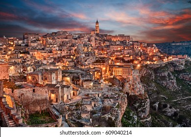Matera, Basilicata, Italy: landscape at dawn of the old town (sassi di Matera), European Capital of Culture
