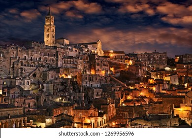 Matera, Basilicata, Italy: landscape of the old town at night of the city European Capital of Culture 2019