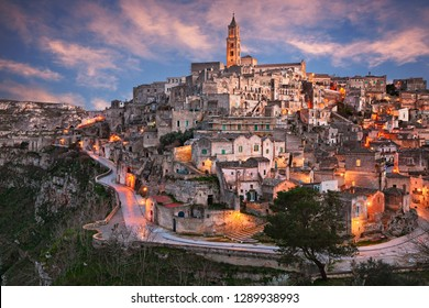 Matera, Basilicata, Italy: landscape at sunset of the picturesque old town called Sassi of the city European Capital of Culture 2019