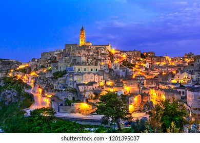 Matera, Basilicata, Italy: Landscape view of the old town - Sassi di Matera, European Capital of Culture, at dawn