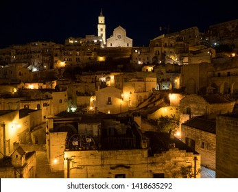 MATERA, BASILICATA, ITALY - May, 2019 - Nightly view of the ancient town of Matera (Sassi di Matera), European Capital of Culture 2019