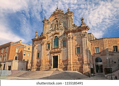 Matera, Basilicata, Italy: the medieval church of San Francesco d'Assisi, partly rebuilt in 1670 in baroque style, in the old town of the Unesco heritage city and European capital of Culture 2019