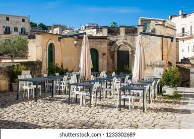 Matera, Basilicata / Italy - October 26 2018: Restaurant at Sassi or stones of Matera European capital of culture 2019, Basilicata, Italy