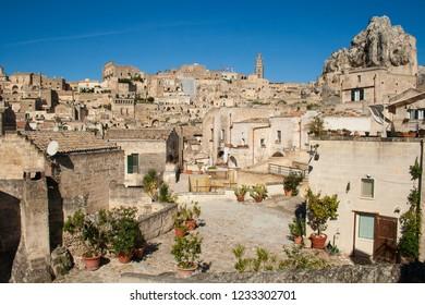 Matera, Basilicata / Italy - October 26 2018: Panoramic beautiful view of Sassi or stones of Matera, European capital of culture 2019, Basilicata, Italy