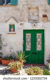 Matera, Basilicata / Italy - October 26 2018: Old house of Sassi or stones of Matera European capital of culture 2019, Basilicata, Italy
