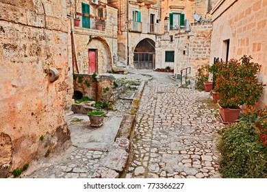 Matera, Basilicata, Italy: picturesque ancient alley in the old town called Sassi di Matera of the city European Capital of Culture 2019
