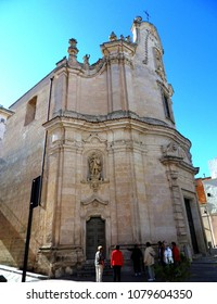 Matera, Basilicata, Italy - September 27, 2014: the eighteenth-century church of Purgatory facing via Domenico Ridola