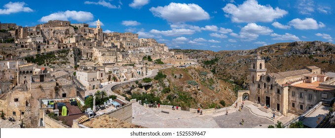 Matera, Basilicata, Italy. September 4 2019: Panoramic view of the ancient town of Matera (Sassi di Matera), European Capital of Culture 2019,southern Italy