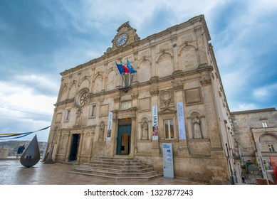 Matera, Basilicata, Puglia, Italy - 20 February, 2019: National Museum of Medieval and Modern Art of Basilicata, Palazzo Lanfranchi . 2019 European Capital of Culture