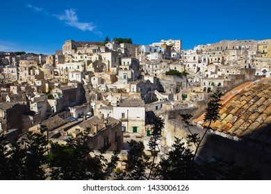 Matera, Basilicata/Italy, 01 september 2013: Beautiful view of the ancient city of  Matera, southern Italy in a sunny summer day,  Unesco heritage and european capital of culture 2019.