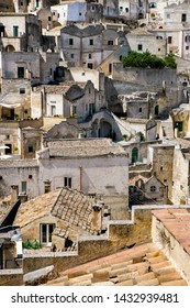 Matera, Basilicata/Italy - september 01  2013: Glimpse of a terrace and roof top pf the ancient  stone city of Matera, in southern Italy, Unesco heritage city and european capital of culture 2019.