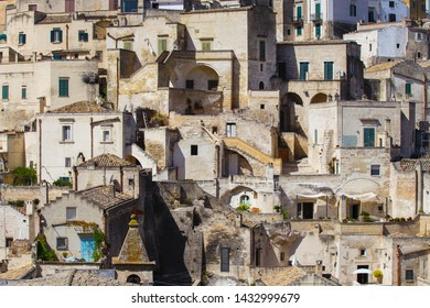Matera, Basilicata/Italy - september 01  2013: View of the characteristic houses of the ancient stone city of Matera, southern Italy,Unesco heritage city and european capital of culture 2019.