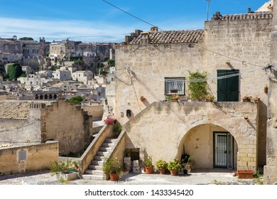 """Matera, Basilicata/Italy - september 01  2013: View of a pretty stone house of the ancient city of Matera """" I sassi"""",  Unesco heritage city and european capital  of culture 2019."""