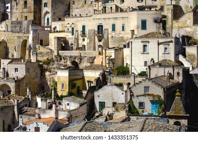 Matera, Basilicata/Italy - september 01 2013: View of the characteristic houses of the ancient stone city of Matera, southern Italy, Unesco heritage city and  european capital of culture 2019.