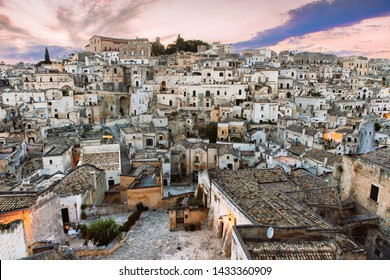 Matera, Basilicata/Italy-august 31 2013: Beautiful view of the famous ancient stone city of Matera at sunset.