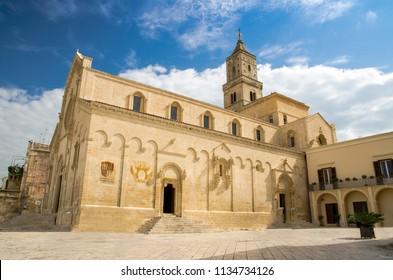 Matera Cathedral church on Piazza Duomo in historical centre Sasso Caveoso of old ancient town Sassi di Matera, European Culture Capital, UNESCO World Heritage Site, Basilicata, Southern Italy