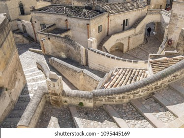 "Matera, Italy - 16 May 2018 - The historic center of the wonderful stone city of southern Italy, Basilicata region, a tourist attraction for the famous ""Sassi"" old town."