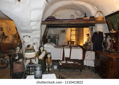 "MATERA, ITALY - APRIL 10, 2017 - Reconstruction of traditional life and habits inside a ""sasso"" museum. Basilicata."