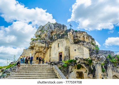 MATERA, ITALY, APRIL 27, 2014: View of the church of Madonna de Idris in Matera, Italy.