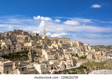 Matera, Italy - August 19,2018: Panorama of the Colle della Civita of Matera with the blue sky