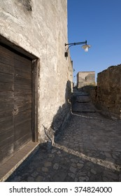 MATERA, ITALY - AUGUST 2014: View of a passage in the ancient town of Matera.