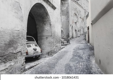 Matera, Italy - Fiat 500 on the old street