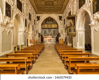 MATERA, ITALY - JULY 17, 2019: View of the interior of the Church of Saint Francis of Assisi (Italian: Chiesa di San Francesco d'Assisi).