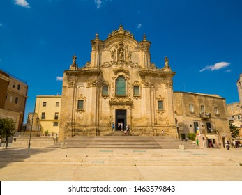 MATERA, ITALY - JULY 17, 2019: View of the Church of Saint Francis of Assisi (Italian: Chiesa di San Francesco d'Assisi).