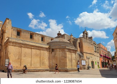 MATERA, ITALY - JULY 18, 2017: Daily life near the church of San Domenico; Matera will be the european capital of culture during 2019