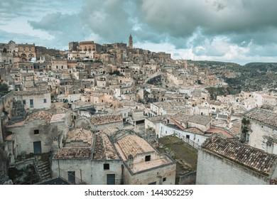 Matera, Italy: Landscape of the old town (sassi di Matera) . Written on the UNESCO heritage list
