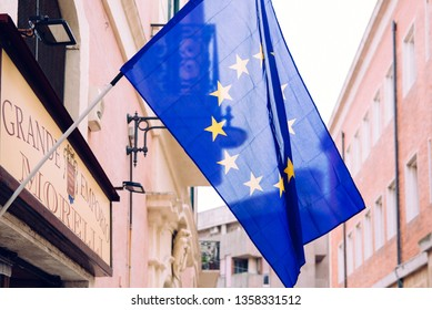 Matera, Italy - March 11, 2019: Flags of Europe in the tourist city of Matera, to host the European year of culture.