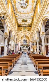 MATERA, ITALY - MAY 25, 2019: Matera Cathedral (Cattedrale di Santa Maria della Bruna e di Sant'Eustachio) is a popular tourist attraction in  Matera, Italy.