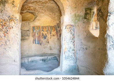 Matera, Italy - may 4, 2017:  The ancient frescoes of the Madonna Delle Virtu rocky church