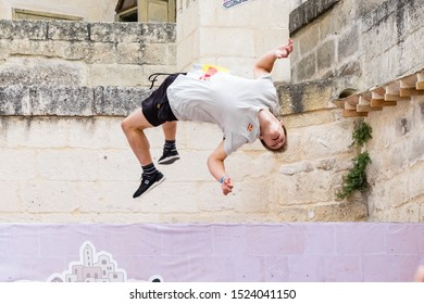 Matera, Italy - October 5, 2019: Krystian Kowalewski in action during the final of Red Bull's Art of Motion.