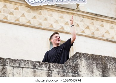 Matera, Italy - October 5, 2019: Edward Scott incites the crowd during the final of Red Bull's Art of Motion.