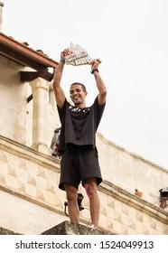 Matera, Italy - October 5, 2019: Didi Alaoui celebrates winning red Bull's Art of Motion final.