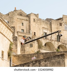 """Matera, Italy - October 5, 2019: Fausto Vicari in a deadly jump during the final of """"Art of Motion"""" of Red Bull."""