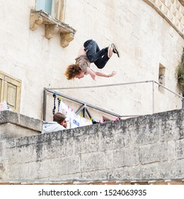 """Matera, Italy - October 5, 2019: Joshua Malone in acrobatics during the """"Art of Motion"""" final at Red Bull."""
