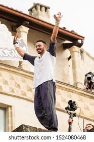 "Matera, Italy - October 5, 2019: Dimitris Kyrsanidis celebrates on the podium of red Bull's ""Art of Motion"" final."