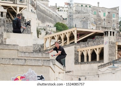 """Matera, Italy - October 5, 2019: Archie Aroyan in action during the final of Red Bull's """"Art of Motion""""."""