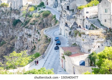 "Matera, Italy - September 15, 2019: Bond25, cameras mounted on camera shooting for the action scenes of the 007 film ""No Time to Die""."