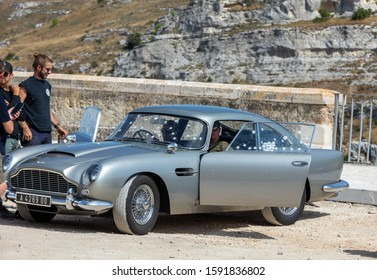 Matera, Italy - September 15, 2019: the Aston Martin DB5 used on the set of the latest James Bond movie 'No time to die' in Matera,  Italy.