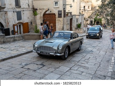 Matera, Italy - September 17, 2019: the Aston Martin DB5 used on the set of the latest James Bond movie 'No time to die' in Matera,  Italy.