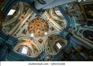 Matera, Italy - September 22 2018: The ornate, baroque interior of the Church of the Purgatory in Matera, Italy